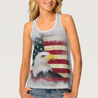 Grey Distressed Patriotic US Flag , Bald Eagle タンクトップ