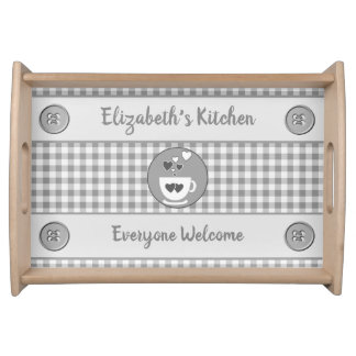 Grey gingham name kitchen トレー