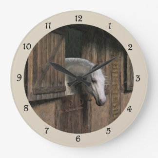 Grey Horse at the Stable Door Wall Clock ラージ壁時計