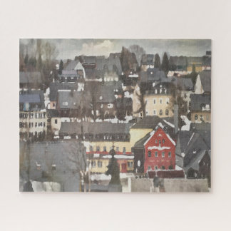 Grey Winter Village and One Red House Digital Oil ジグソーパズル