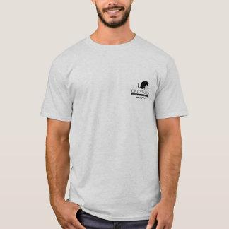 Greyfoot猫の救助のロゴメンズワイシャツ Tシャツ
