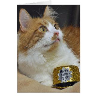 Greyfoot猫の救助の新年の挨拶状 カード