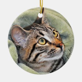 Greyfoot猫の救助の銀製灰色の虎猫のオーナメント セラミックオーナメント