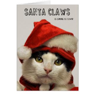 Greyfoot猫の救助サンタは休日カードを引き裂きます カード