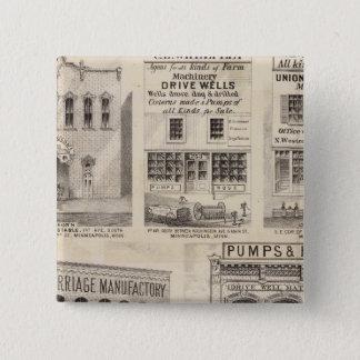 Grimshawおよび町、ミネソタ 5.1cm 正方形バッジ