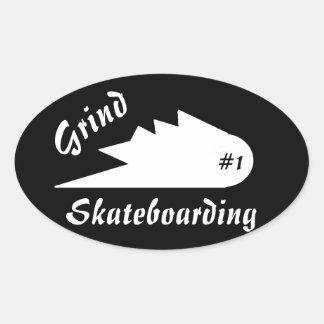 grind skateboard clothing sports logo 楕円形シール