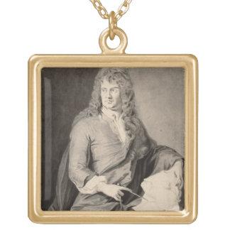 Grinlingギボンズ(1648-1721年)のポートレート(w/c pで ゴールドプレートネックレス