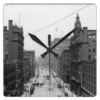 Griswoldの通り、デトロイト、Mich 1906年 スクエア壁時計