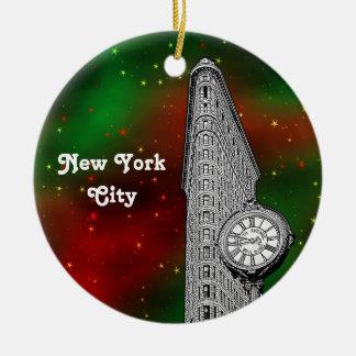 Grnの赤い星明かりのクリスマスを造るNYC Flatiron セラミックオーナメント