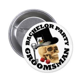 Groomsmansのゴシック様式賭博のスカルのバチュラーパーティ 5.7cm 丸型バッジ