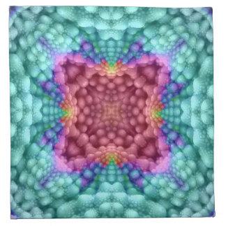 Groovy Blue Vintage Kaleidoscope Cloth Napkins ナプキンクロス