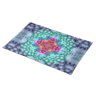 Groovy Blue Vintage Kaleidoscope Cloth Placemats ランチョンマット