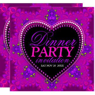 Groovy Girl Love Pink Bohemian Dinner Party カード