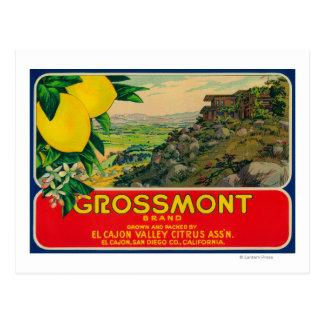 GrossmontレモンLabelEl Cajon、カリフォルニア ポストカード