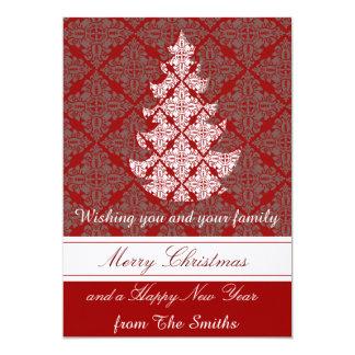 Grouponのクラシックなダマスク織のクリスマスツリー カード