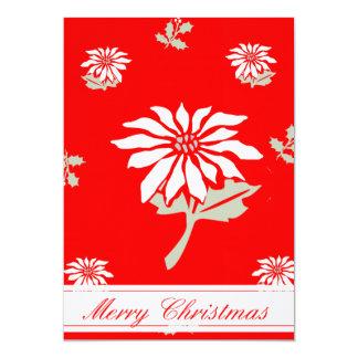 Grouponのヴィンテージのスタイルのクリスマスのポインセチアの   ヒイラギ カード