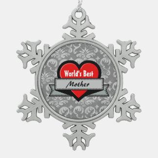 GROUPONの世界で最も最高のな母赤いハートG03 スノーフレークピューターオーナメント