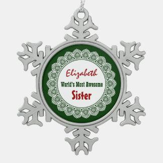 GROUPONの世界の最も素晴らしい姉妹のレースG04 スノーフレークピューターオーナメント