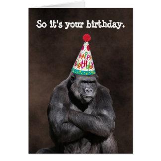 Grumpy Gorilla Yay Birthday カード
