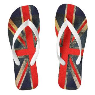 Grunged英国国旗のイギリスの旗のビーチサンダル ビーチサンダル
