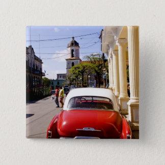 Guanabacoaの古くクラシックなアメリカの自動車町 5.1cm 正方形バッジ