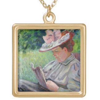 Guillaumin、c.1895 (キャンバスの油)夫人 ゴールドプレートネックレス