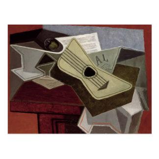 GuitarおよびNewspaper 1925年 ポストカード
