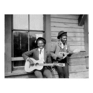 Guitar 1902年を演奏している黒人男性 ポストカード