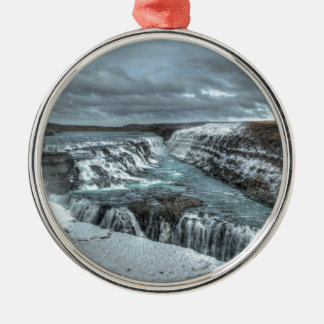 Gullfossの滝、アイスランド シルバーカラー丸型オーナメント