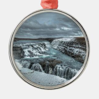 Gullfossの滝、アイスランド メタルオーナメント