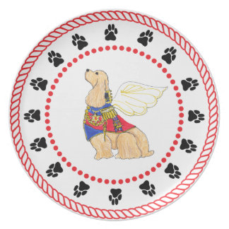 Gulliverの天使のコッカースパニエルのディナー用大皿 プレート