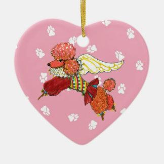 Gulliverの天使の杏子のプードルの陶磁器のハート セラミックオーナメント