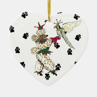 Gulliverの天使プードルおよび《鳥》ハヤブサの陶磁器のハート セラミックオーナメント