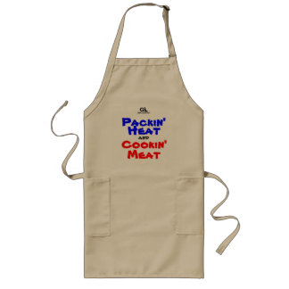 GunLink Packin熱およびCookin肉BBQのエプロン ロングエプロン