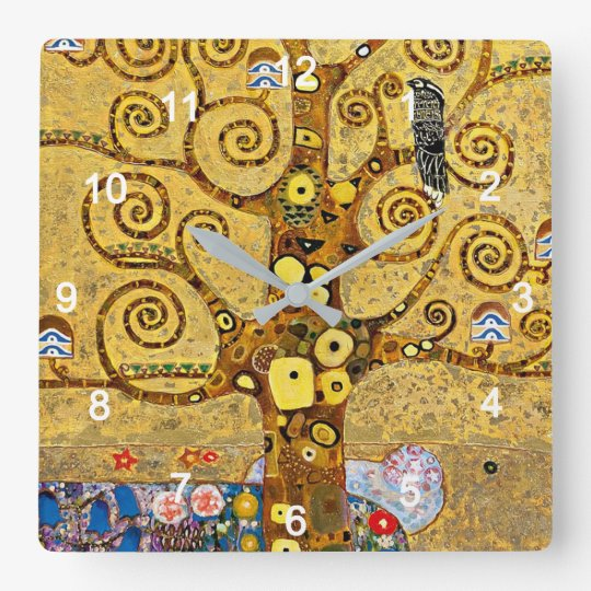 "Gustav Klimt , "" Tree of life "" スクエア壁時計"