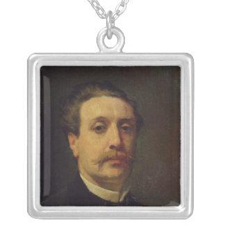 Guy de Maupassant 1876年のポートレート シルバープレートネックレス