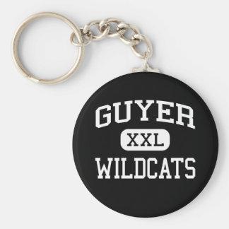 Guyer -山猫-高等学校- Dentonテキサス州 ベーシック丸型缶キーホルダー