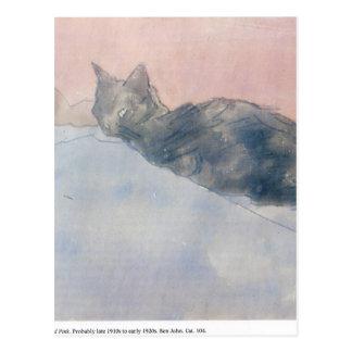 Gwenジョン著青いそしてピンクの黒猫 ポストカード