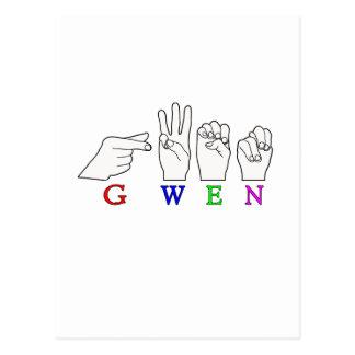 GWEN一流FINGERSPELLED ASL手の印 ポストカード