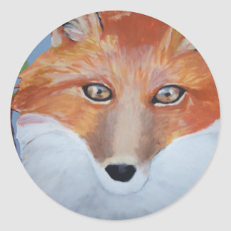 Gwen Billips著キツネの顔の絵画 ラウンドシール
