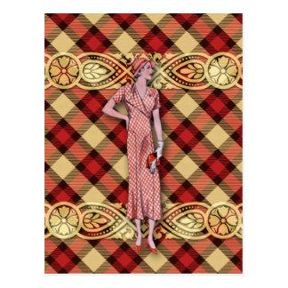 Gwendolyn: 30年代は赤および金ゴールドで作ります ポストカード