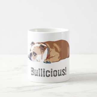 "GwenGearのマグの""Bullicious""の英国のブルドッグ コーヒーマグカップ"