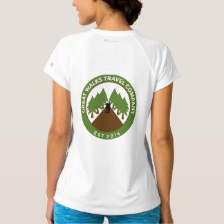 GWTの女性のスポーツTekによって合われる性能のV首 Tシャツ