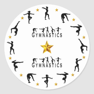 Gymnastics, Female, Gold Stars ラウンドシール