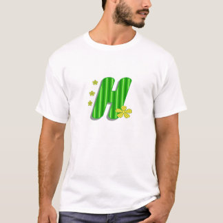 hの緑のモノグラム tシャツ