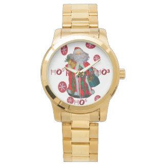 Hの³のHoHoHoサンタの時間カスタムなグラフィックアートのデザイン 腕時計