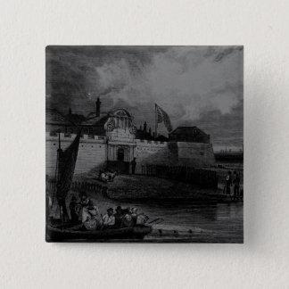 H. Adhardが刻むTilburyの城砦の眺め 5.1cm 正方形バッジ