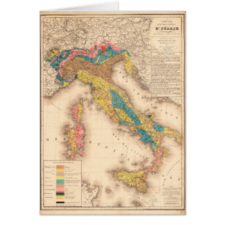 H. de Collegno (1844年)著イタリアの地質地図 カード