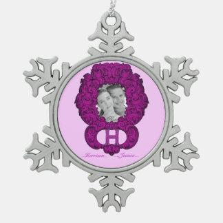 H - Falckのアルファベット(ピンク) スノーフレークピューターオーナメント