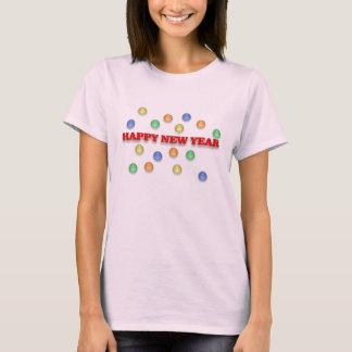 Haapyの新年および紙吹雪の女性のTシャツ Tシャツ
